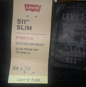 Levi slim flex. black jean, 34x32